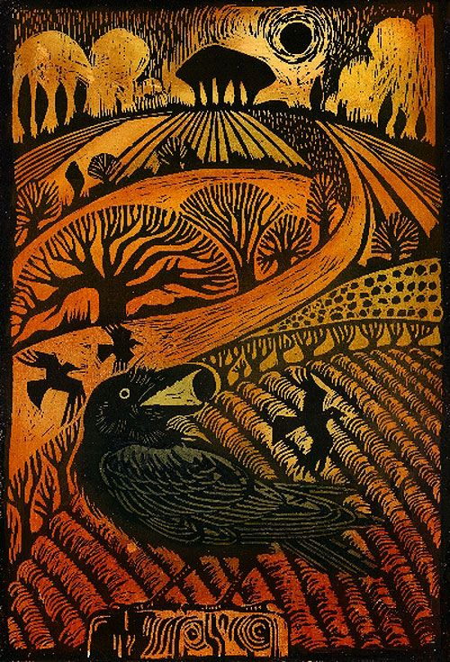 'Rook' woodcut (limited edition of 50), approx. 45cm x 35cm, £145- Ian MacCulloch Illustration and Printmaking - Jardine Gallery