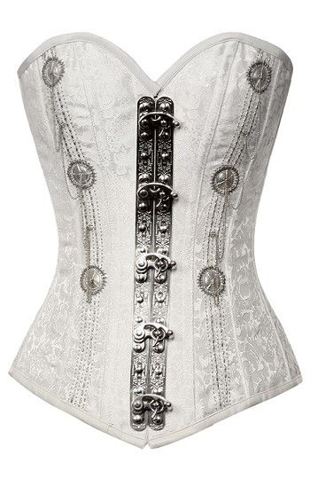 White Vintage Goth Steel Boned Corset, would look amazing as part of a bridal evening outfit!