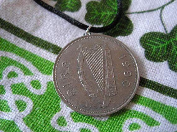 Irish Birth Year Coin Necklace/1990 Pound by BridgetFainne on Etsy, $20.00