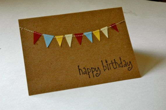 Birthday Greeting Card Multicolor Bunting Sewn Card by hoopdaloop