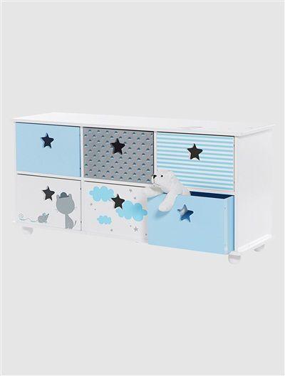 meuble de rangement 6 bacs thme miaoustach blanc casse vertbaudet enfant - Meuble Rangement Chambre Bebe