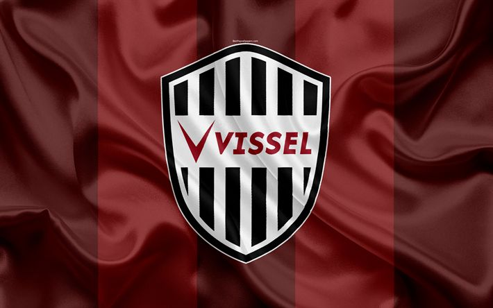 Download wallpapers Vissel Kobe, 4k, Japanese football club, logo, Kobe FC emblem, J-League, football, Kobe, Hyogo, Japan, silk flag, League Division 1, Japan Football Championship