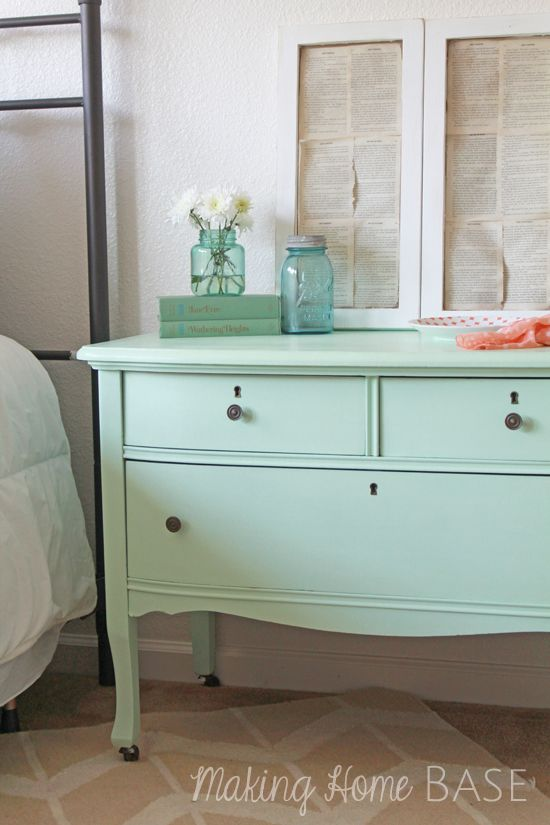 This dresser was refinished with the perfect shade of mint green. (Olympic Sweet Pea)