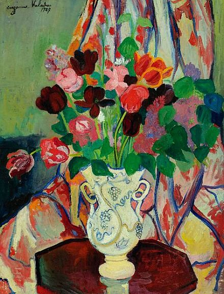 Suzanne Valadon: 'Bouquet of Tulips' - (1865 -1938) She was an artist model before she became a painter.  She was also famous painter, Maurice Utrillo's mother.