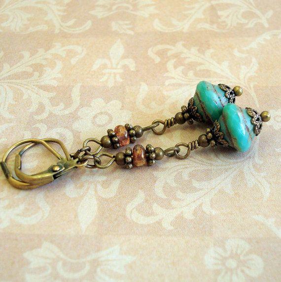 Turquoise Blue Earrings, Vintage Inspired Earrings, Neo Victorian Jewelry, Czech Glass, Longer Jointed Earrings