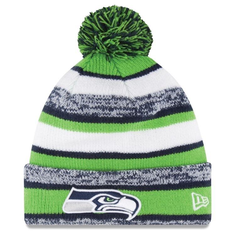 WANT! - Mens Seattle Seahawks New Era Green On-Field Sport Sideline Cuffed Knit Hat