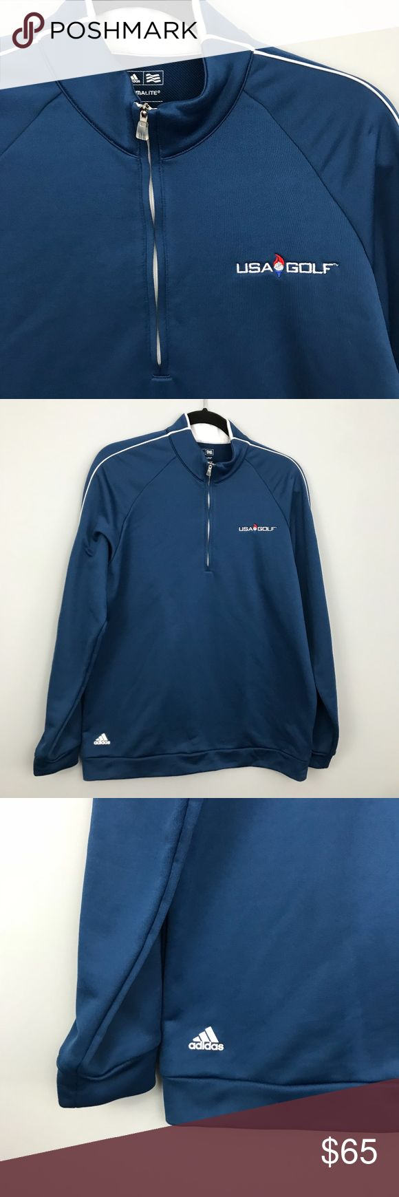 Adidas USA Golf Olympic 1/4 Zip Pullover - RARE M 2016 Adidas USA GOLF Olympic 3-Stripes 1/4 zip Layering Pullover   * RARE!! - Thermal 1/4 Zip Pullover - Soft French Terry  - Classic 3-Stripe - White Trim - Raglan Sleeves - Cuff and Banded Bottom - Great condition, only FLAW is minor snag adidas Shirts