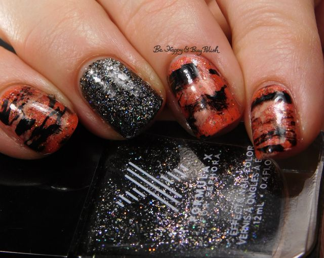 Tiger Stripe nail art manicure with Formula X Naughty Newton, Oh! Zone, Sinful Colors Coco Bae, Polish 'M The Great Pumpkin | Be Happy And Buy Polish