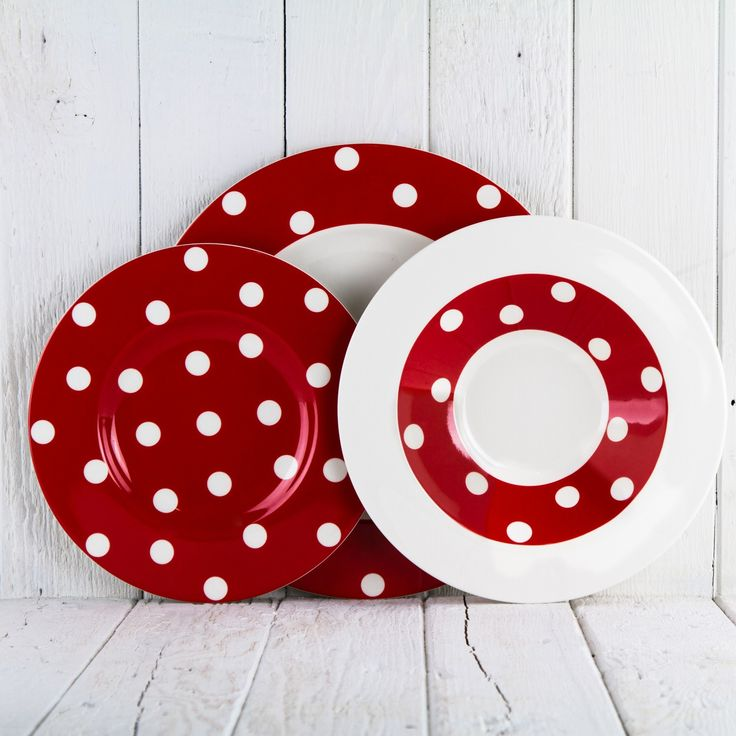 Polka Dot Red Dinner Plate 11-3/4  $17.47.  sc 1 st  Pinterest : spotty dinner plates - pezcame.com