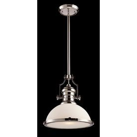 """Westmore Lighting 13"""" Polished Nickel Pendant Light with Frosted Shade"""