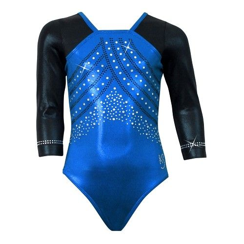 Pacific blue leotard with black mystique shoulders and sleeves.  Rhinestones are a combination of clear and black Korean crystals (Swarovski available on request for an additional cost).  Custom team color options available.