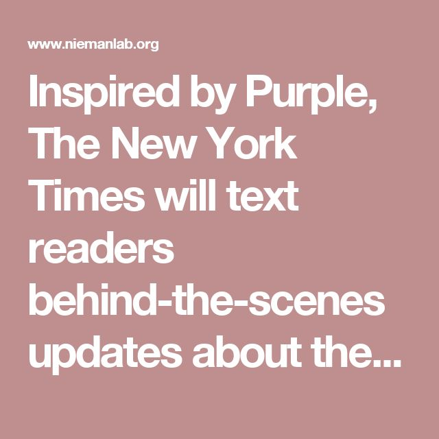Inspired by Purple, The New York Times will text readers behind-the-scenes updates about the Olympics » Nieman Journalism Lab