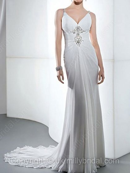 Sheath/Column Straps Chiffon Court Train Beading Wedding Dresses -USD$194.03