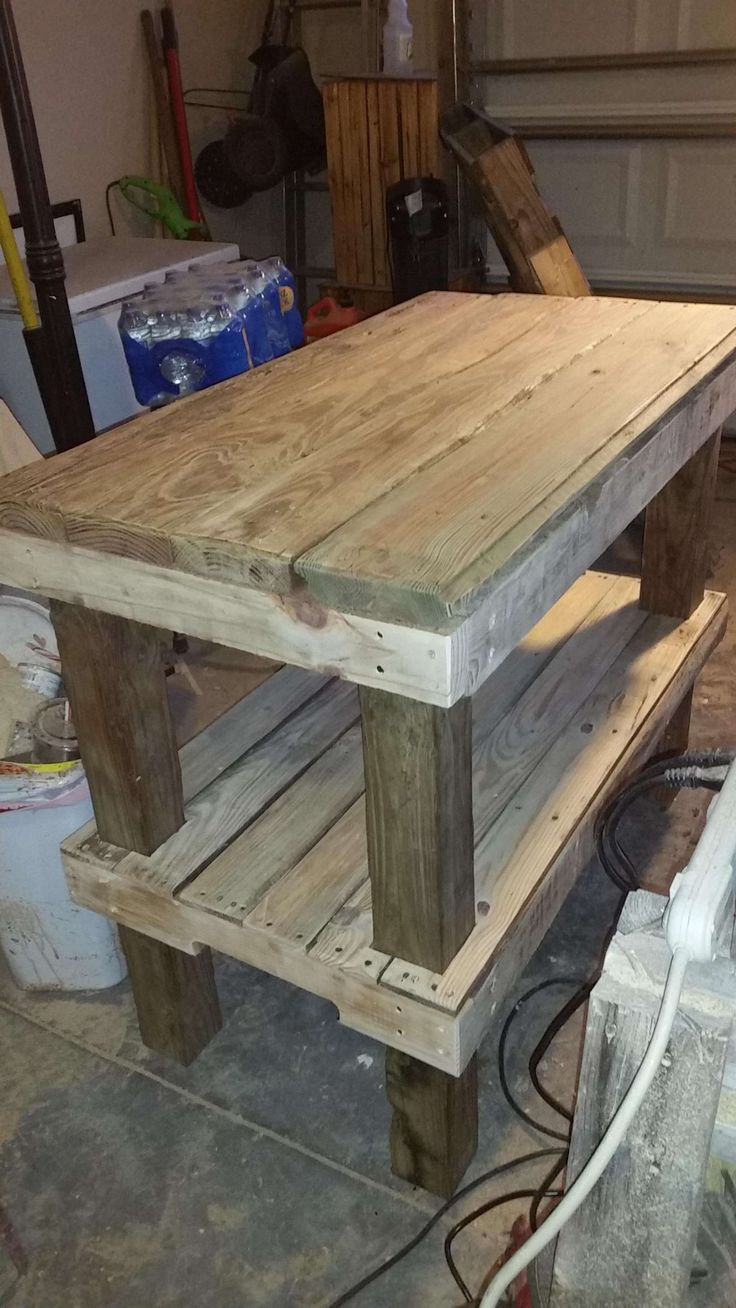 This one took about 5 or 6 days to complete.The hardest part was letting the top boards dry. They are driftwood I found near the water. All the wood for this one was driftwood after a storm we had here. #Driftwood, #Kitchen, #PalletKitchenIsland, #RecyclingWoodPallets