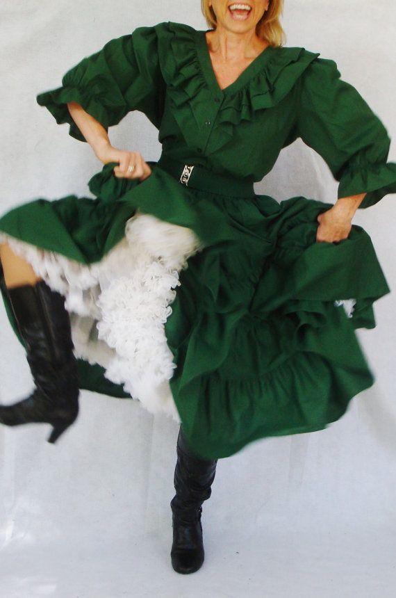 Plus Size Vintage Square Dancing Dress Hunter Green Ruffle ...
