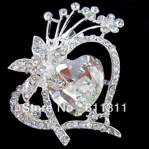 Большой Серебряный Тон Большой Горный Хрусталь Кристалл Сердце Брошь Пен Свадебный Букет невесты