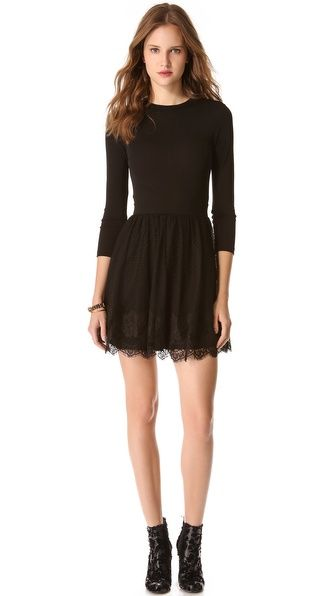A RED Valentino dress in a tonal mix of materials. A slinky jersey bodice offers a comfortable fit, and a point desprit skirt adds graceful air. Eyelash lace finishes the hem, and a hidden zip closes the back. Unlined bodice. Lined skirt. Copy and paste this link in your browser http://shopbop.lgldr.net/ba4 and you will find a wonderland in the field of fashion industry.