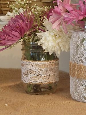 Burlap and Lace Mason Jar Weddings Parties Cottage Chic Home Decor Rustic HO | eBay