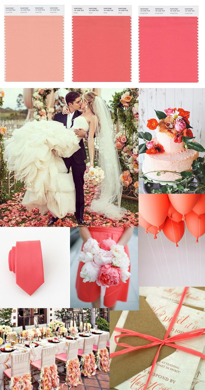 "Coral Wedding Color Inspiration! (Looking for colorful Wedding and Engagement Rings? We're here to give you the ""best"" choices! Visit us today at www.brilliance.com)"