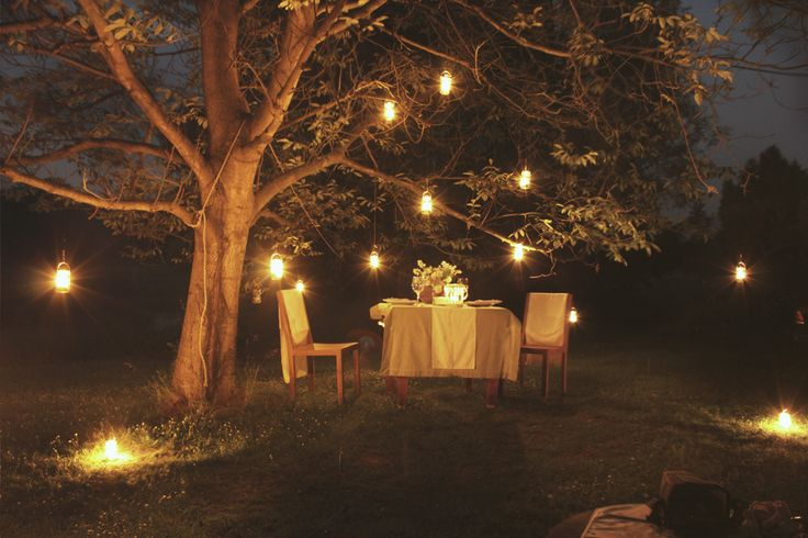 Engagement in romantic atmosphere