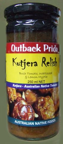 Outback Pride Kutjera [Bush Tomato] Relish 250mls Made from Desert Raisins, Wattleseed, Lemon Myrtle, Mountain Pepperberry, tomatoes and sultanas.  A tasty addition to cheese platters, baguettes, cold meats, salads or toasted sandwiches.  Product of Australia  (BT-REL-OP-BTR250) Buy 1 or more:	Pay $10.00 Buy 2 or more:	Pay $9.50