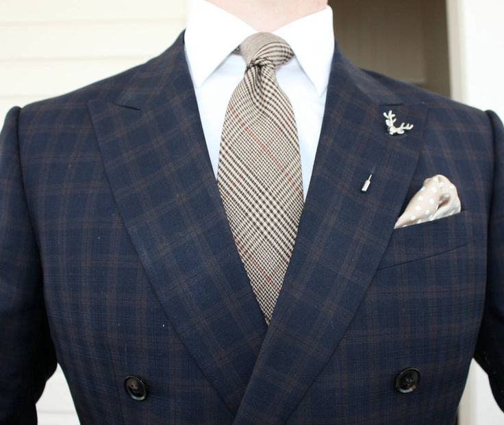 Menswear pattern play with plaids, checks and polka dots.