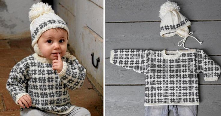 Mönstret är klassiskt och kul att sticka. Här är tröjan och mössan som blir favoriter i vinter.