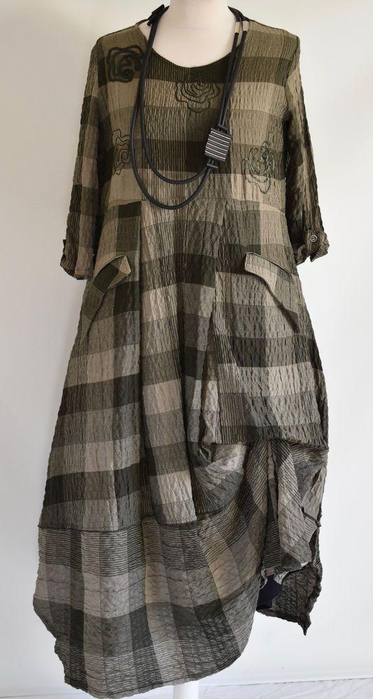 FAB GERMAN ZEDD.PLUS quirky/lagenlook MOSS CHECK  parachute dress XL/XXL #ZEDDPLUS #dress