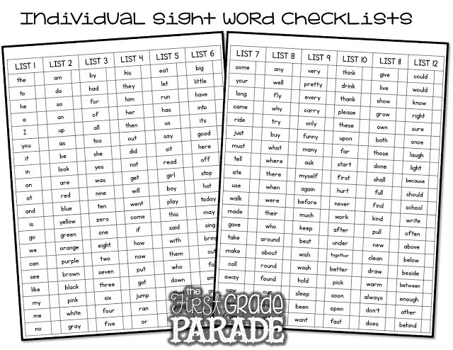 Th Grade Sight Words  Challenge List  Word Work