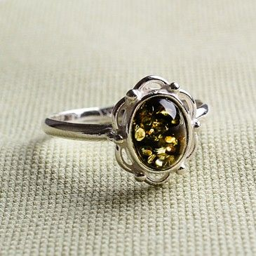 Victorian Baltic Green Amber Ring