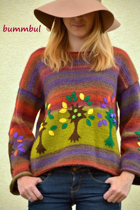 Stylish sweater hand knitted sweater with felt trees M by Bummbul