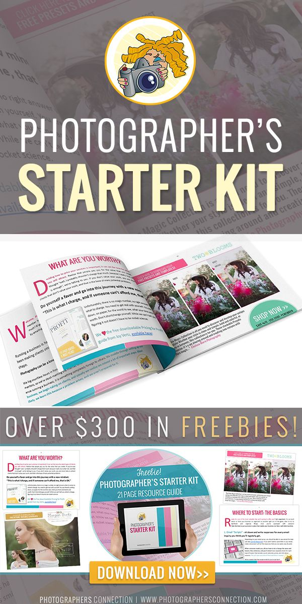FREE Photographer's Starter Kit from Photographers Connection. Includes over $300 in free actions, presets, templates, and more. Along with 21 pages of valuable goodness to kick-start your photography business! #photography #photographers #freebies