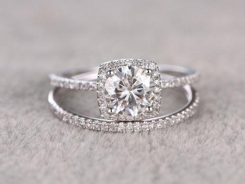 6.5mm Round Moissanite Wedding Set Diamond Bridal Ring 14k White Gold Cushion Halo Marquise Matching Band