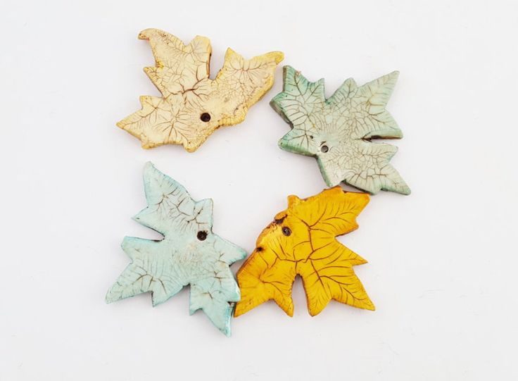 Maple Leaf Pendant - Handmade Polymer Clay - Choose Color - Yellow, Mint Green, Teal, Gold - Necklace Focal - Crafts - The Blue Hutch by TheBlueHutch on Etsy https://www.etsy.com/listing/510224183/maple-leaf-pendant-handmade-polymer-clay