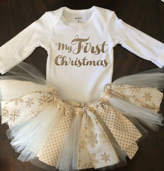 My First Christmas Outfit - TuTu - Gold Glitter  I can customize the top to have whatever you would like on it. Please let me know when purchased if you would like something different.  Toddler sizes are available, please message me for details! :)