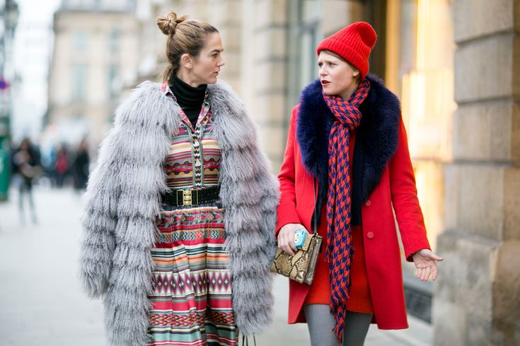 Street Style Outfits From Paris Haute Couture Week Spring 2015 - layerd grey fur coat + bright red winter coat and lots of print + pattern | StyleCaster