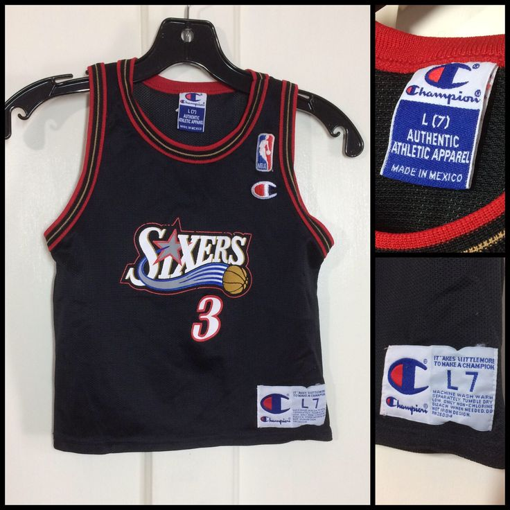 Excited to share the latest addition to my #etsy shop: 1990s kid's vintage Sixers #3 Allen Iverson Champion brand NBA basketball jersey toddler size L7 Philadelphia 76ers black red gold tank top
