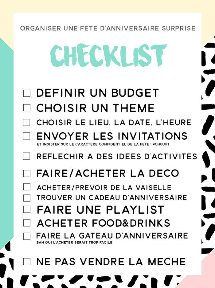 Surprise Party |idées. checklist. cadeau pour homme & femme