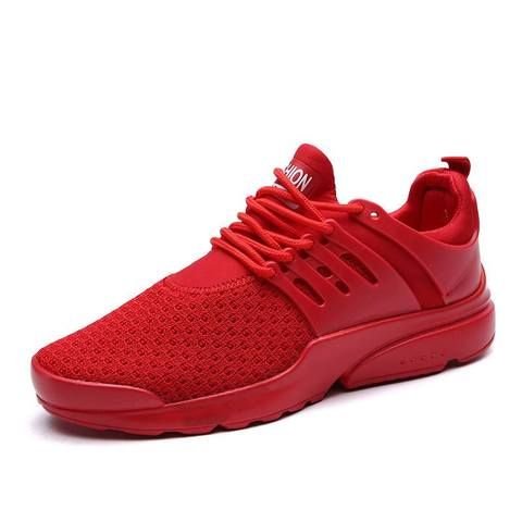 Mesh Running Shoes for Men Workout Lace up Black Red