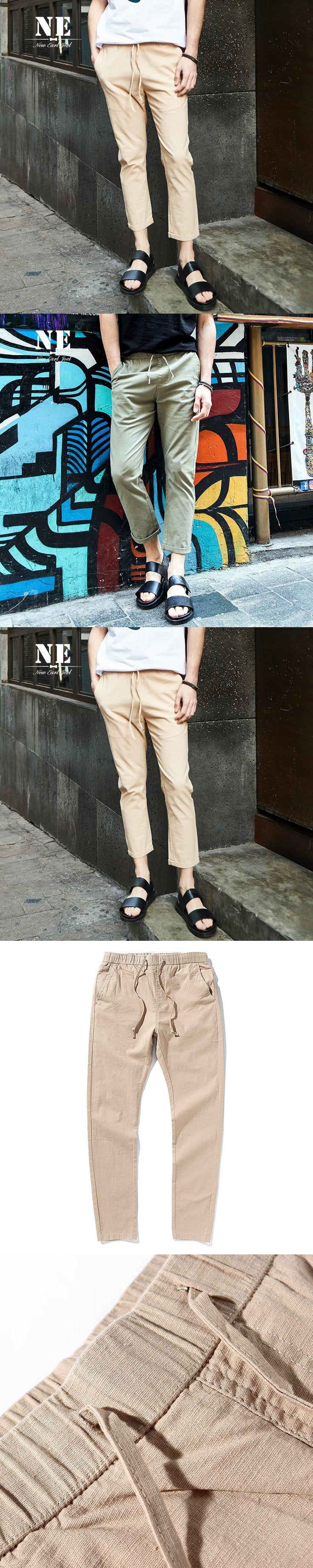 Brand Men Clothing 98% Cotton mens casual suit pants trousers pleated slim pure khaki green pants mens office pants plus size