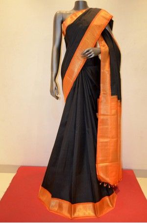 Black Kanjeevaram Saree With Orange Zari Border                                                     Product Code: SSJG02527         #Silk #SilkSaree #Handloom #PureSilk #WeddingSaree #BridalSaree #Kanjivaram #Kancheepuram #Kanjeevaram #southindian