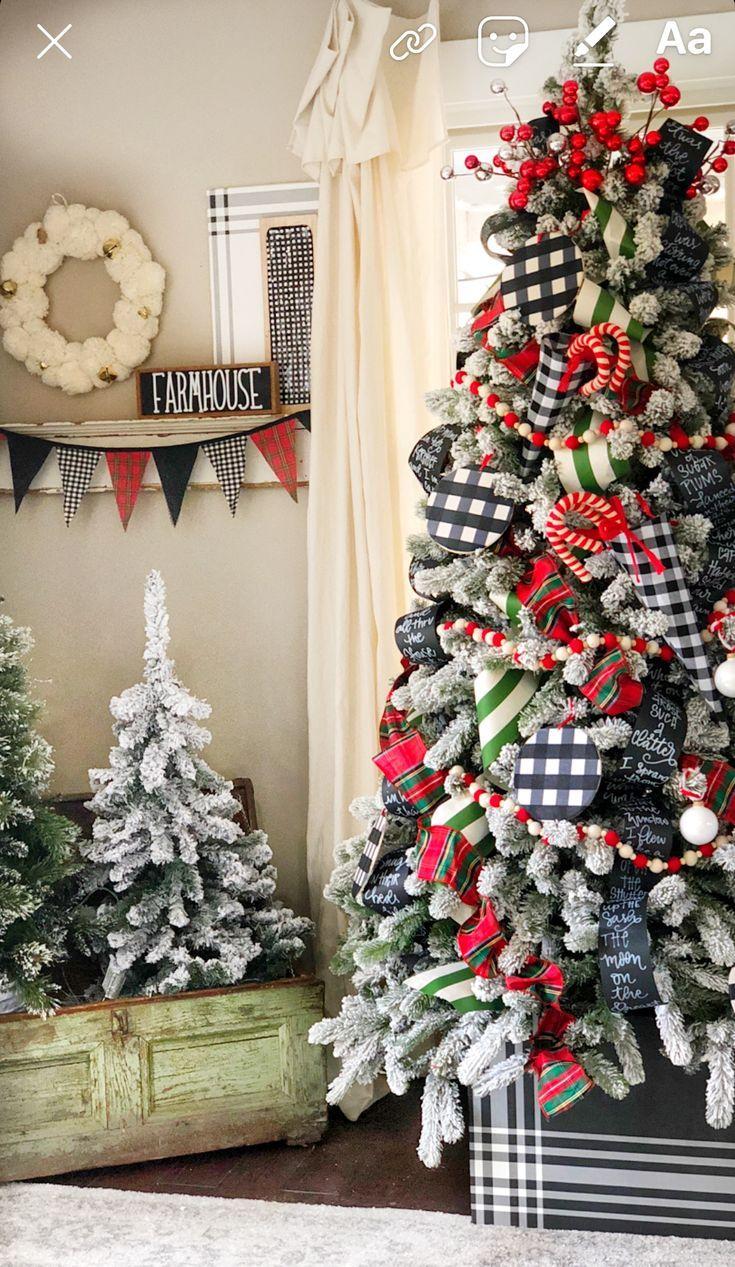 Farmhouse Buffalo Check Christmas Christmas Tree Themes