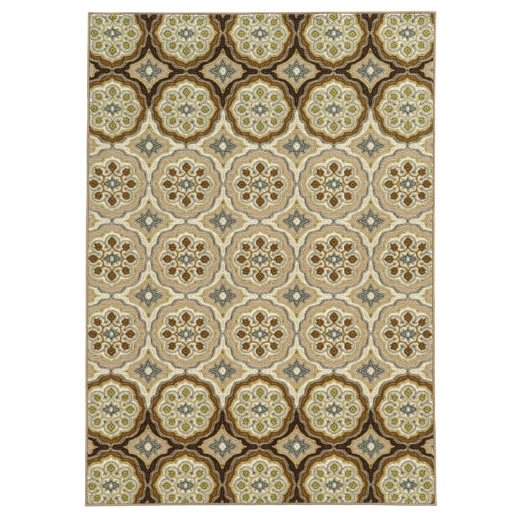 """Style Haven Loop Pile Casual Floral Ivory/ Tan Nylon Rug (6'7 x 9'3) (Machine-made 6'7"""" X 9'3"""" Nylon Area Rug), Brown"""