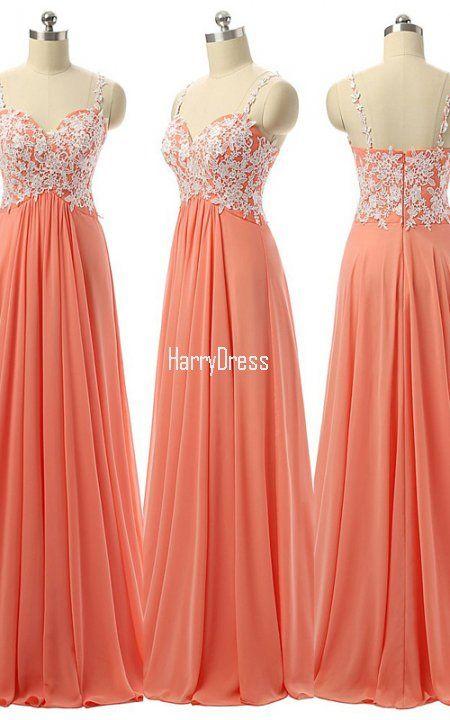 Sweetheart Orange Chiffon Floor Length Appliques Lace Long Prom Dress