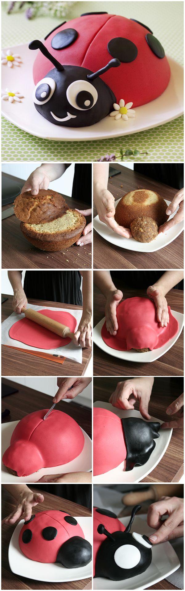 Gâteau coccinelle – décor en pâte à sucre (DIY & toturiel). Parfait pour un gâteau d'anniversaire