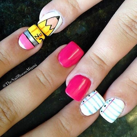 37 Super Cute Back To School Nail Art Designs www.escherpe.com World of Scarves