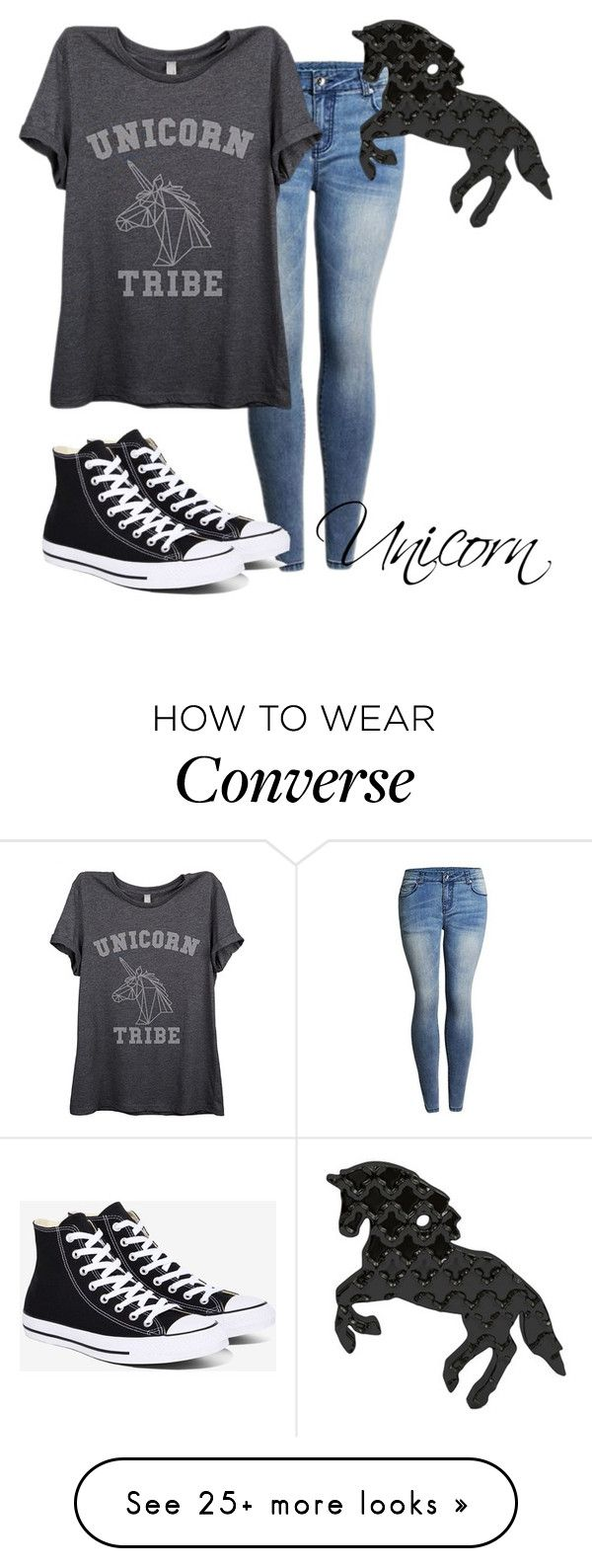 """Unicorn"" by rozlynjanine on Polyvore featuring Thread Tank and Converse"