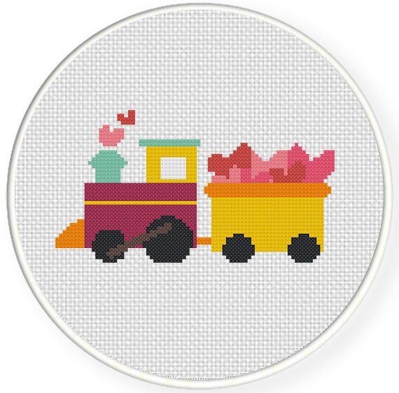 INSTANT+DOWNLOAD+Stitch+Valentine+Train++PDF+by+DailyCrossStitch,+$2.99
