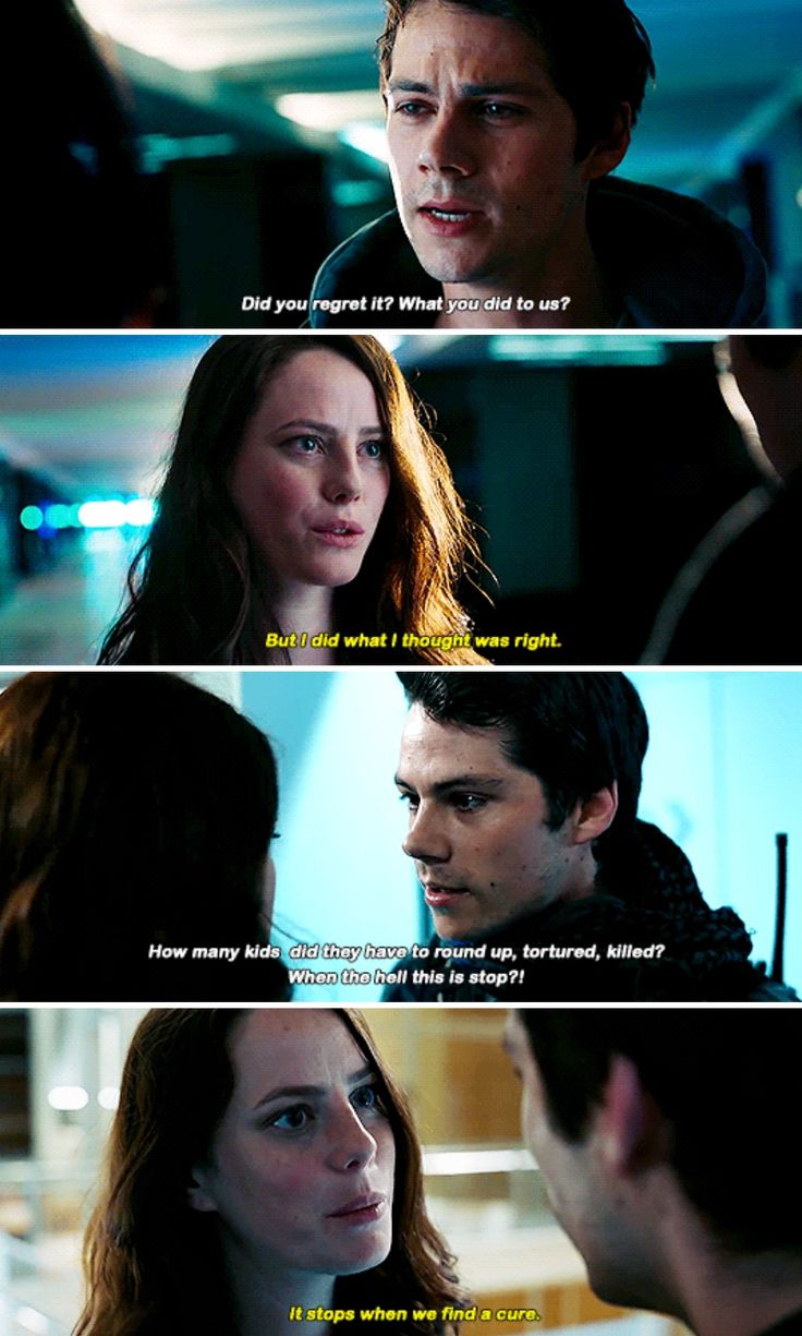 Maze Runner: The Death Cure...THERE IS NO CURE!! <<<< i was over the moon when he yelled that right in her face