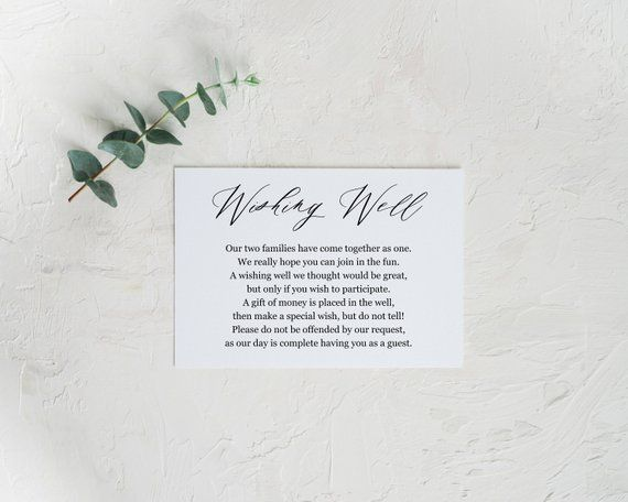 Honeymoon Wishing Well Card Template Honeymoon Wish Honeymoon Fund Honeymoon Request Wish Card Wedding Insert Honeymoon Wish Wishing Well Honeymoon Fund